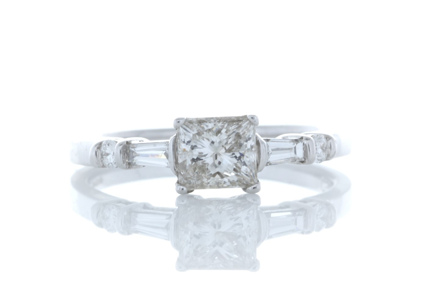 18ct White Gold Single Stone Princess Cut Diamond Ring With Set Shoulders (0.72) 0.96 Carats
