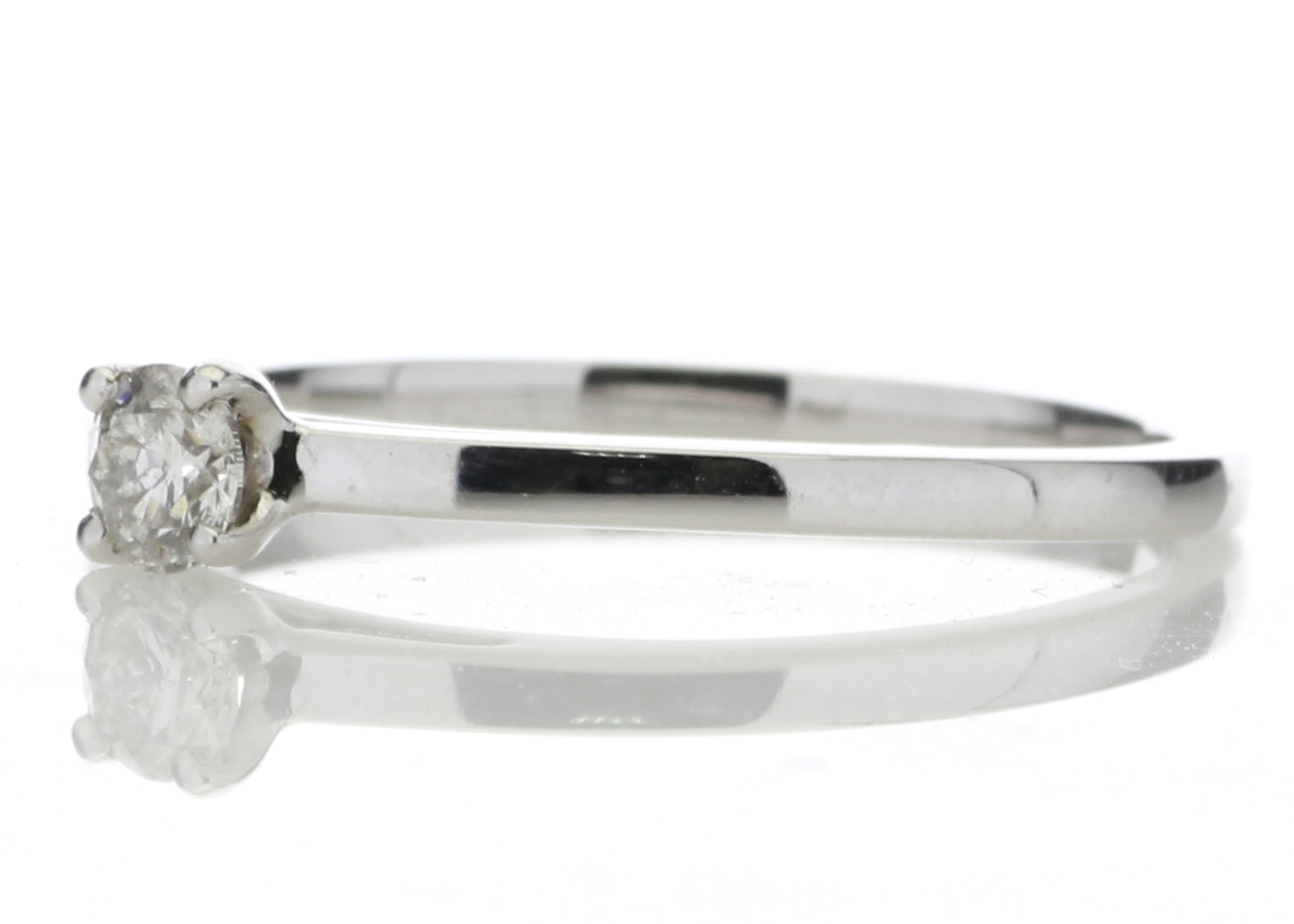 18ct White Gold Single Stone Wire Set Diamond Ring 0.20 Carats - Image 2 of 4