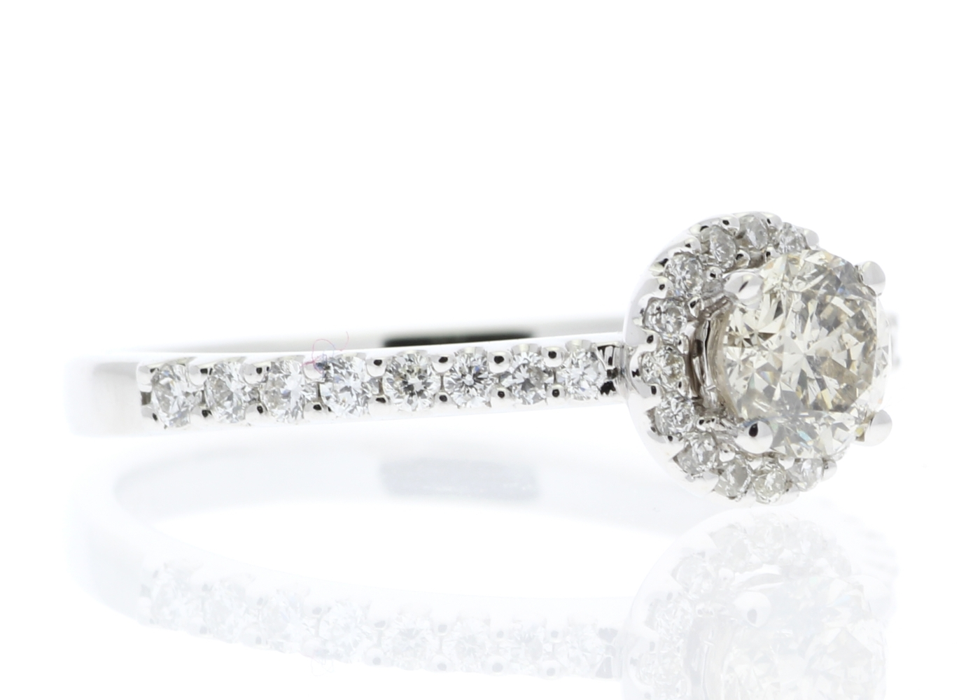 Lot 21 - 18ct White Gold Single Stone Halo Set With Stone Set Shoulders Diamond Ring (0.25) 0.52 Carats