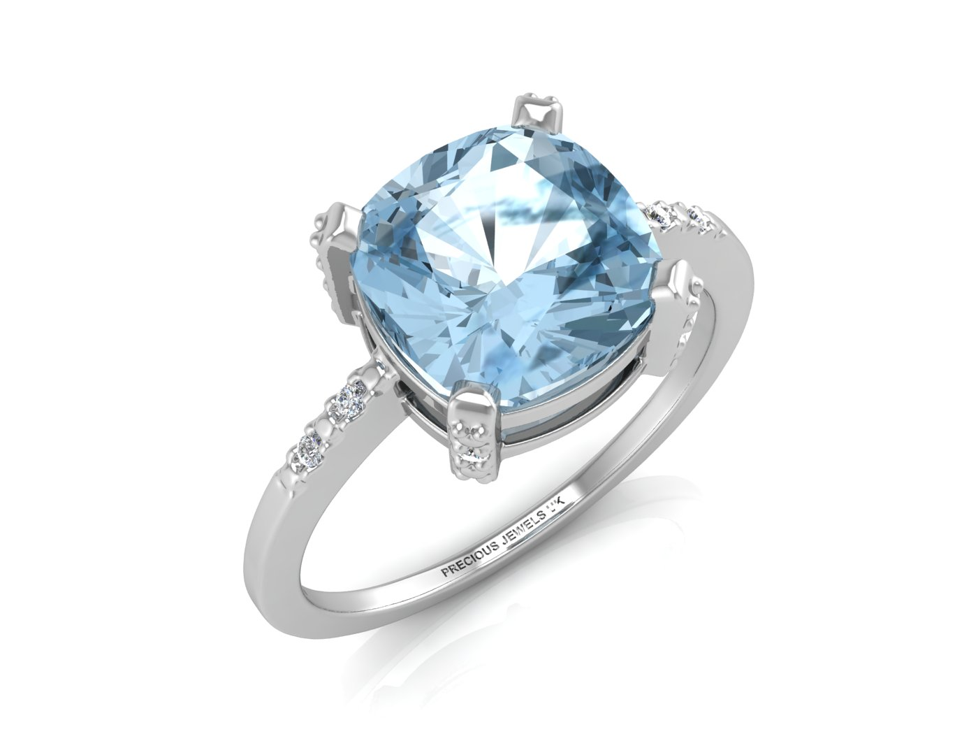 9ct White Gold Diamond And Blue Topaz Ring 0.04 Carats