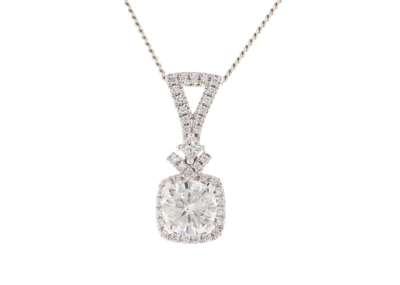 Lot 37 - 18ct White Gold Single Stone cushion Cut Diamond Pendant (0.51) 0.63 Carats