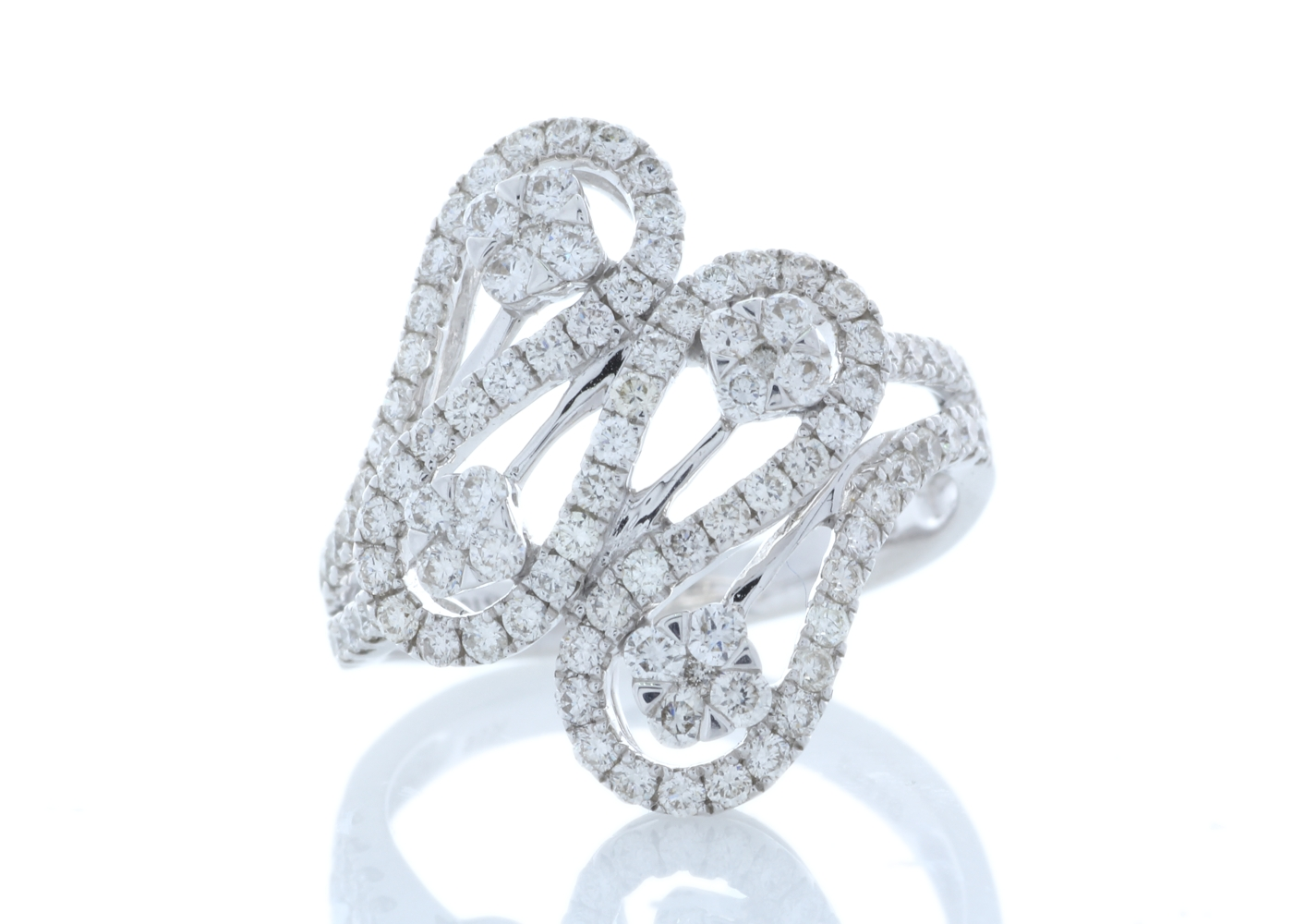 18ct White Gold Fancy Cluster Diamond Ring 1.15 Carats