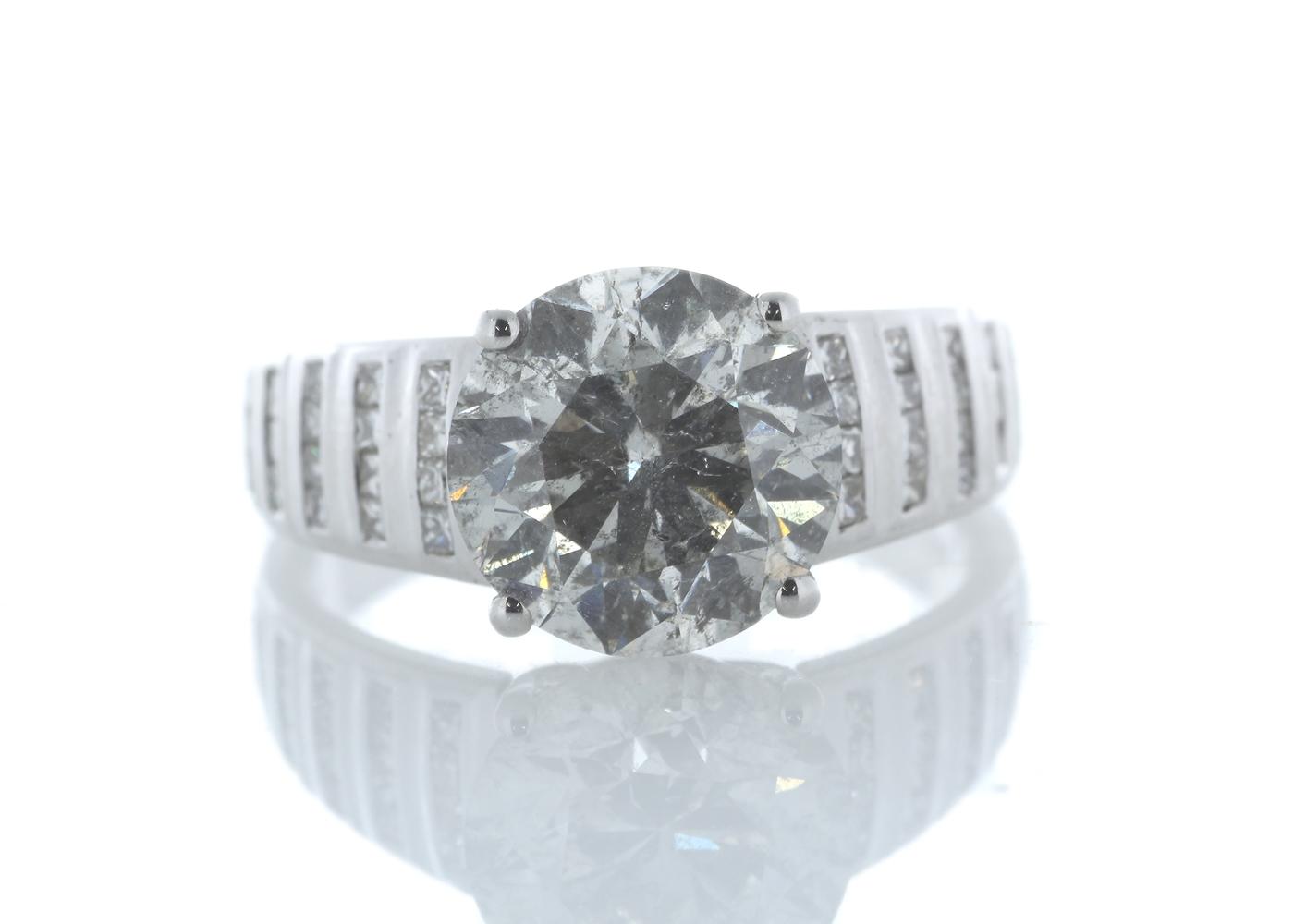 18ct White Gold Single Stone Prong Set With Stone Set Shoulders Diamond Ring 4.65 Carats