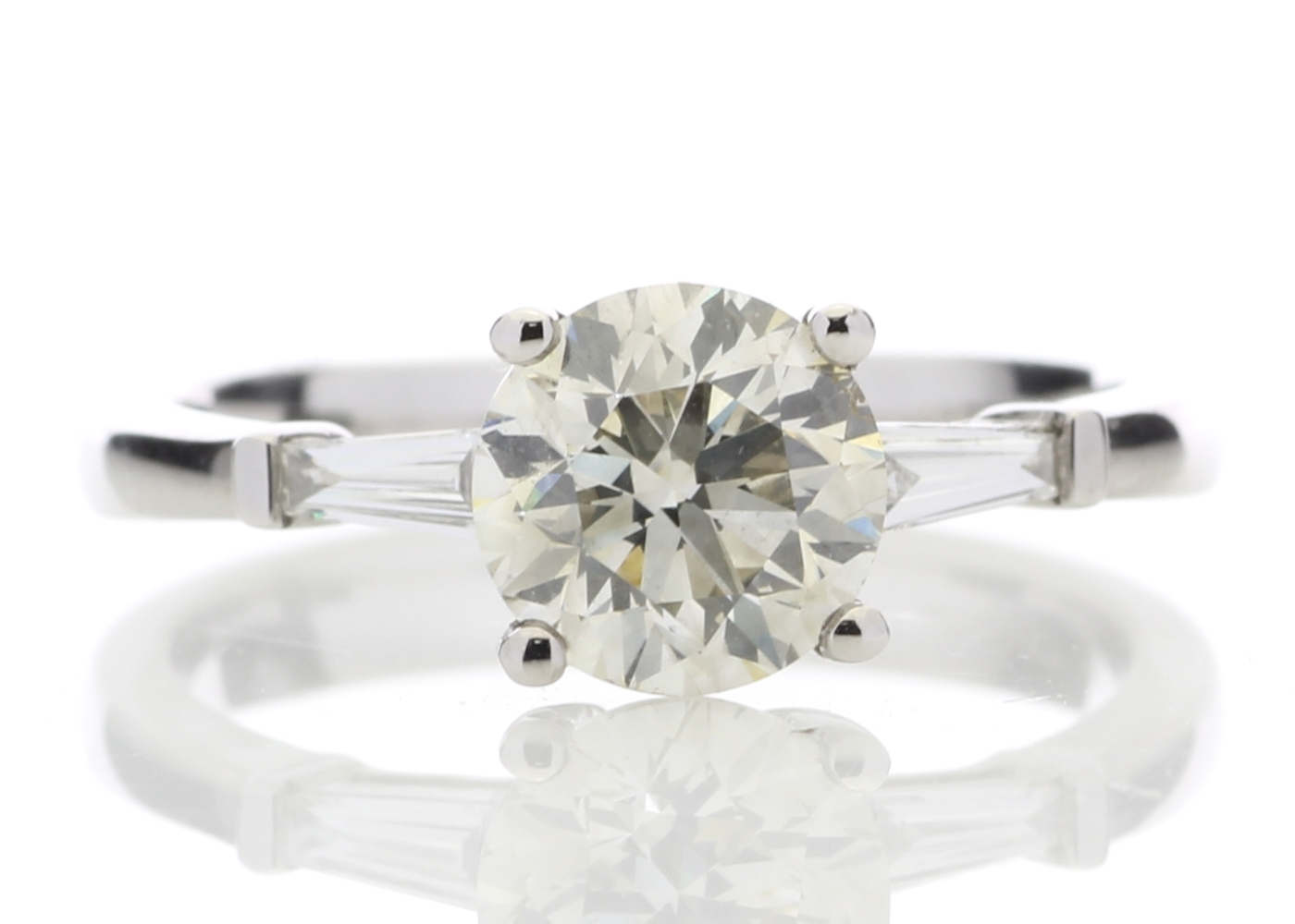 Lot 15 - 18ct White Gold Single Stone Diamond Ring With Stone Set Shoulders (1.50) 1.62 Carats