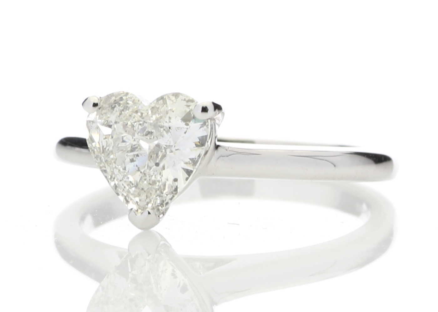 18ct White Gold Single Stone Heart Cut Diamond Ring 1.04 Carats - Image 2 of 5