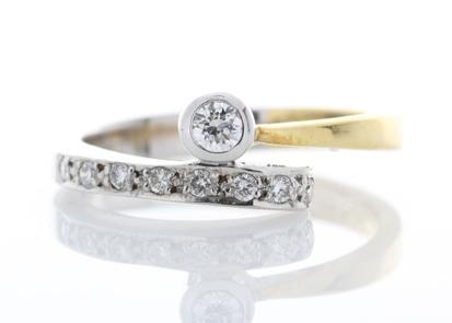 18ct Stone Set Shoulders Diamond Ring 0.11 Carats