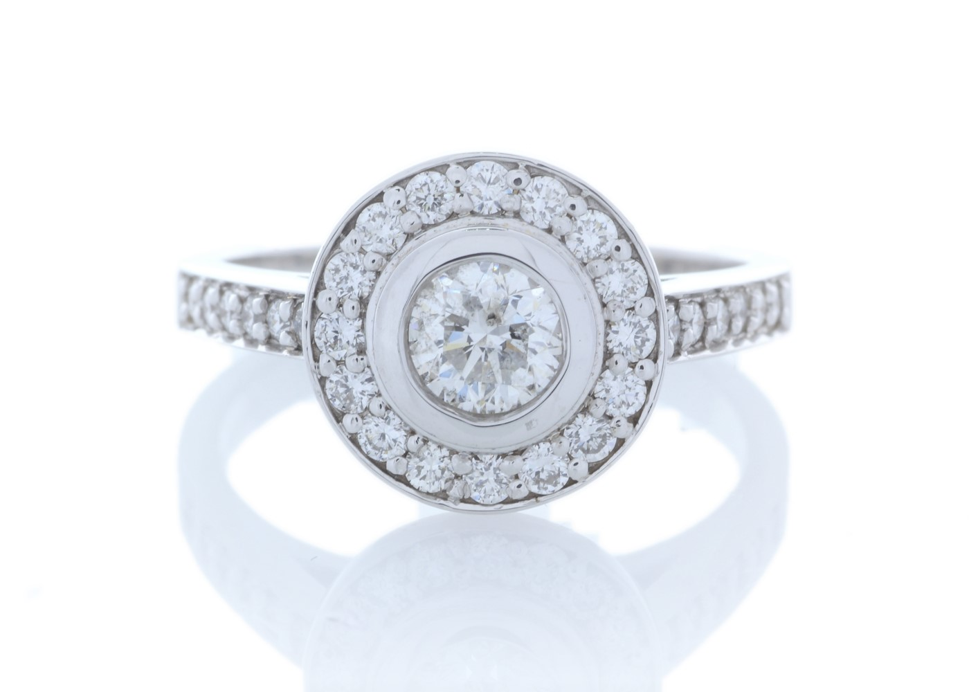 Lot 27 - 18ct White Gold Single Stone With Halo Setting Ring (0.50) 1.00 Carats