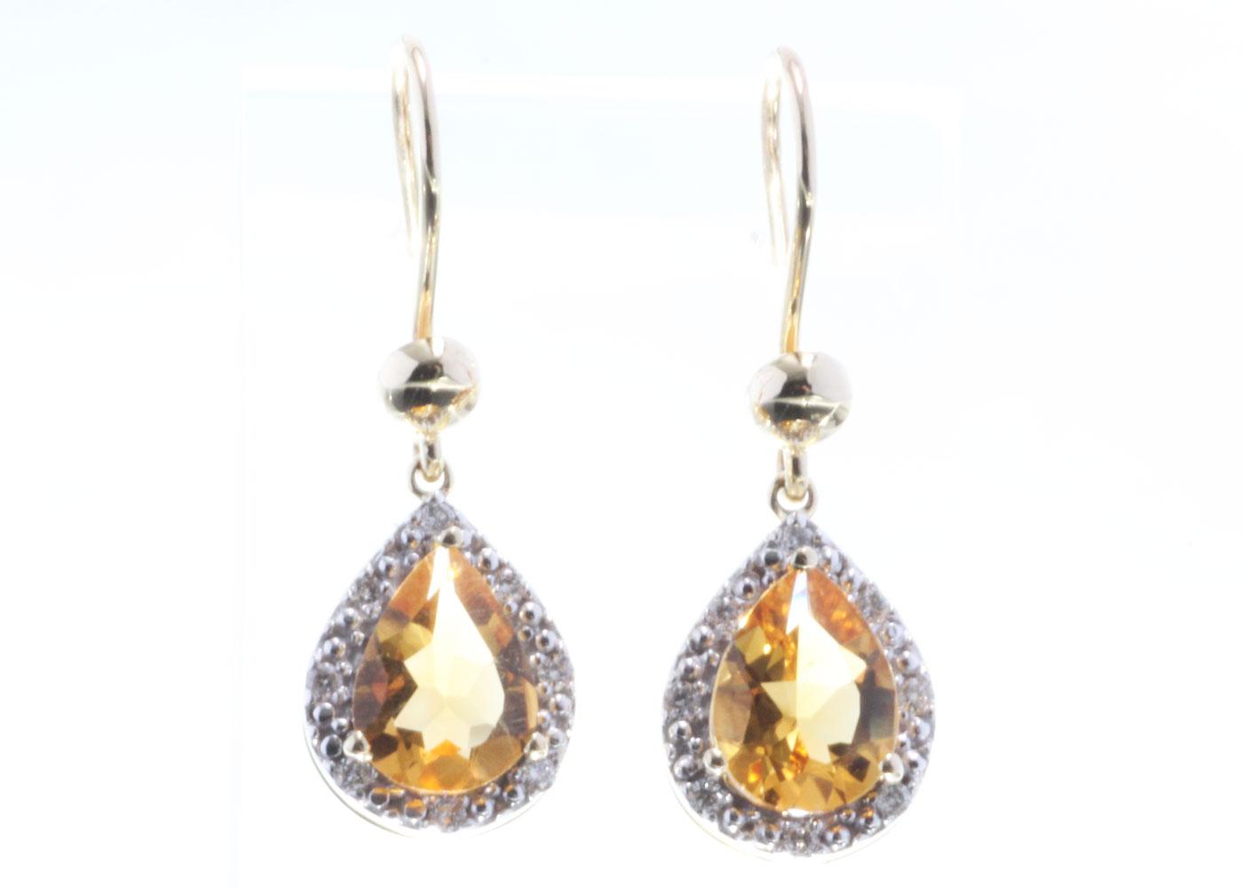 Lot 45 - 9ct Yellow Gold Citrine Diamond Earring 0.13 Carats