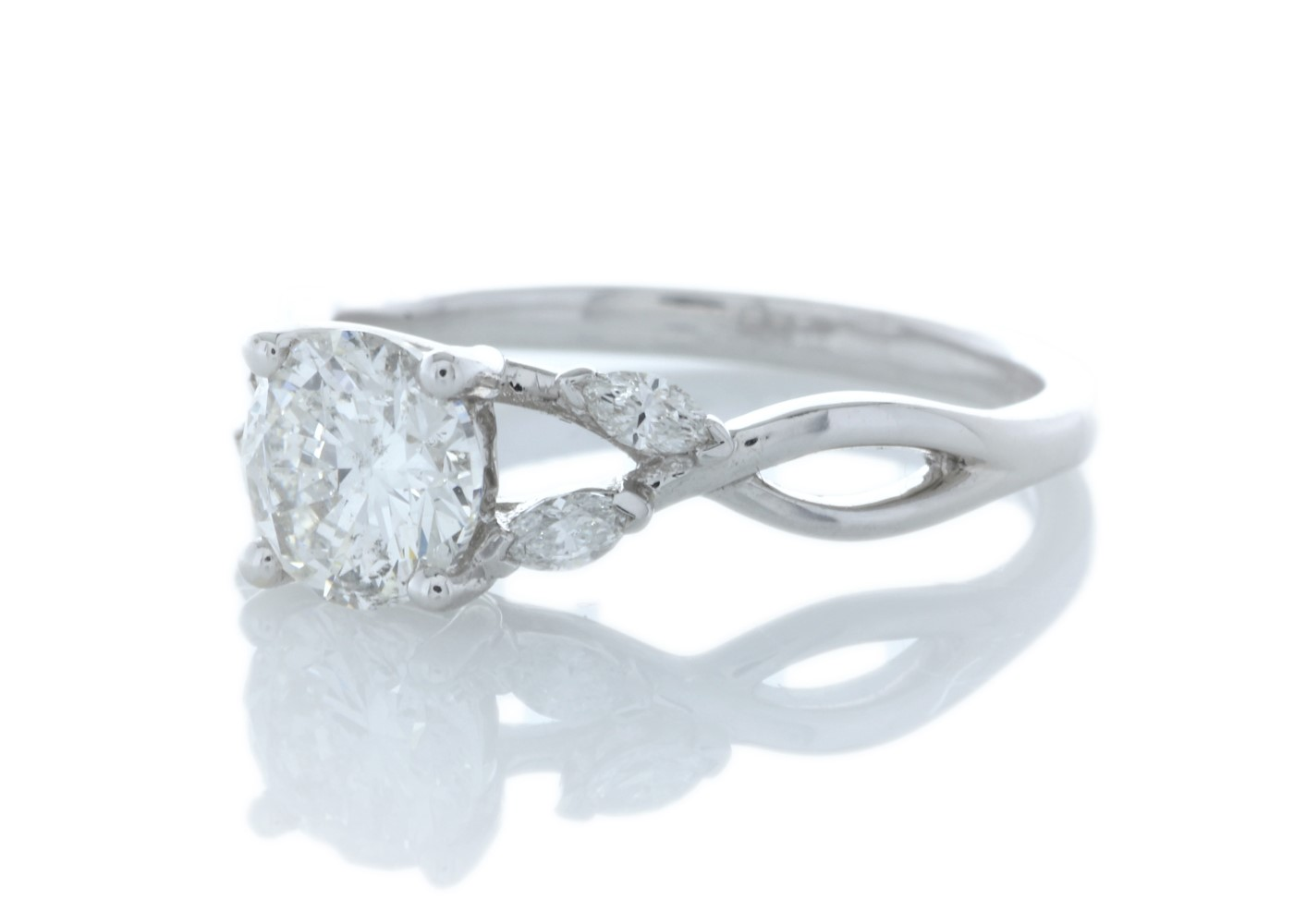 Lot 18 - 18ct White Gold Single Stone Diamond Ring With Marquise Set Shoulders (1.00) 1.16 Carats