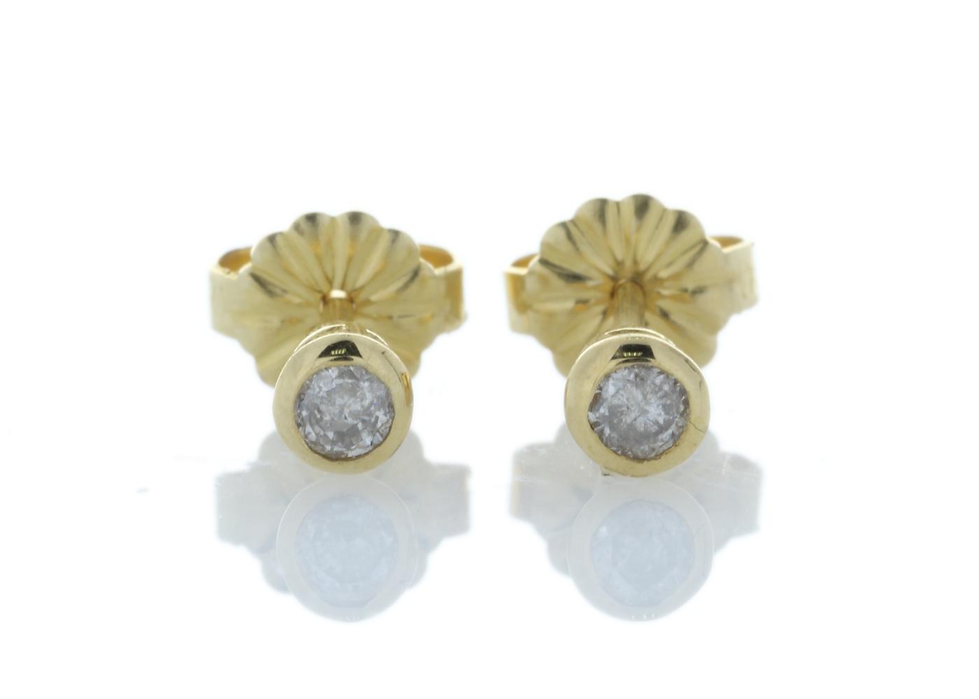 Lot 6 - 18ct Yellow Gold Single Stone Rub Over Set Diamond Earring 0.33 Carats