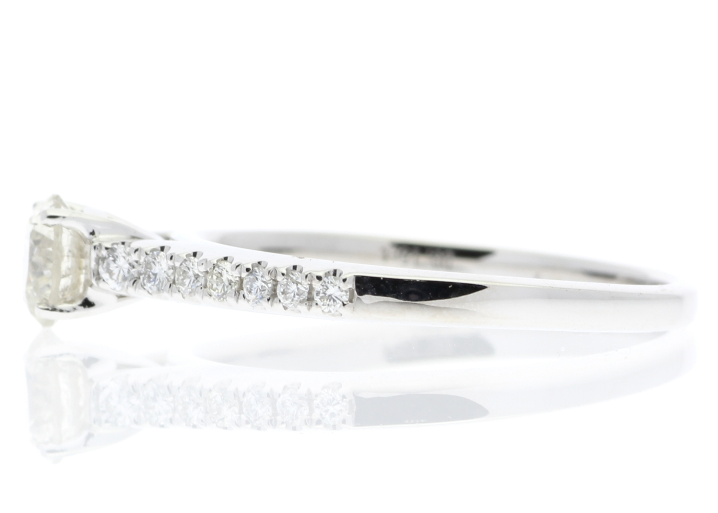 18ct White Gold Single Stone Claw Set With Stone Set Shoulders Diamond Ring (0.46) 0.61 Carats - Image 3 of 5