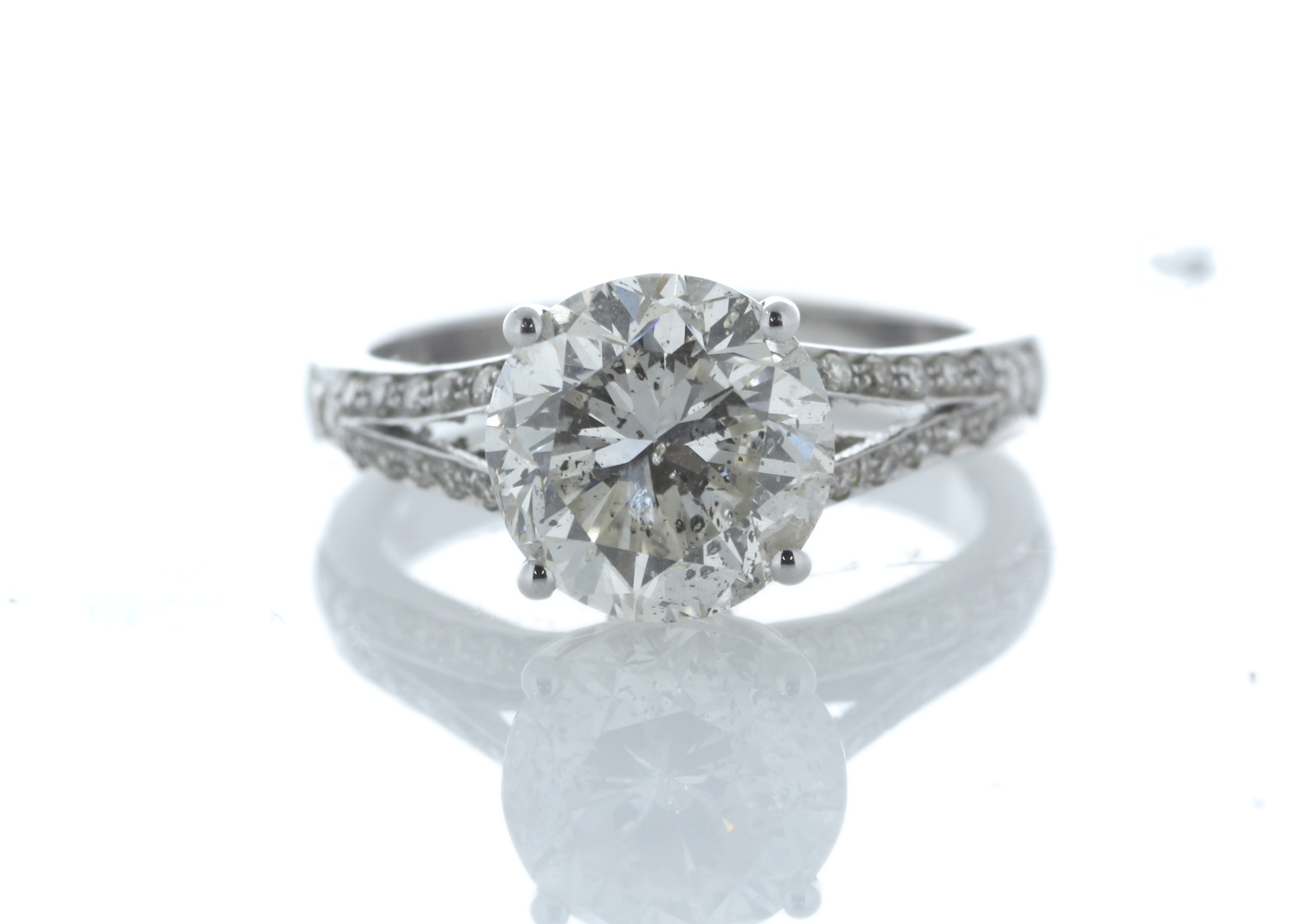 18ct White Gold Single Stone Prong Set With Stone Set Shoulders Diamond Ring 3.56 Carats