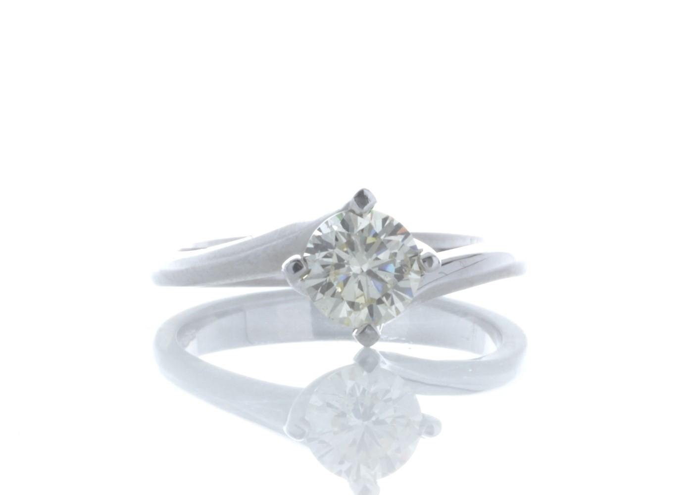 18ct White Gold Single Stone Fancy Claw Set Diamond Ring 0.71 Carats