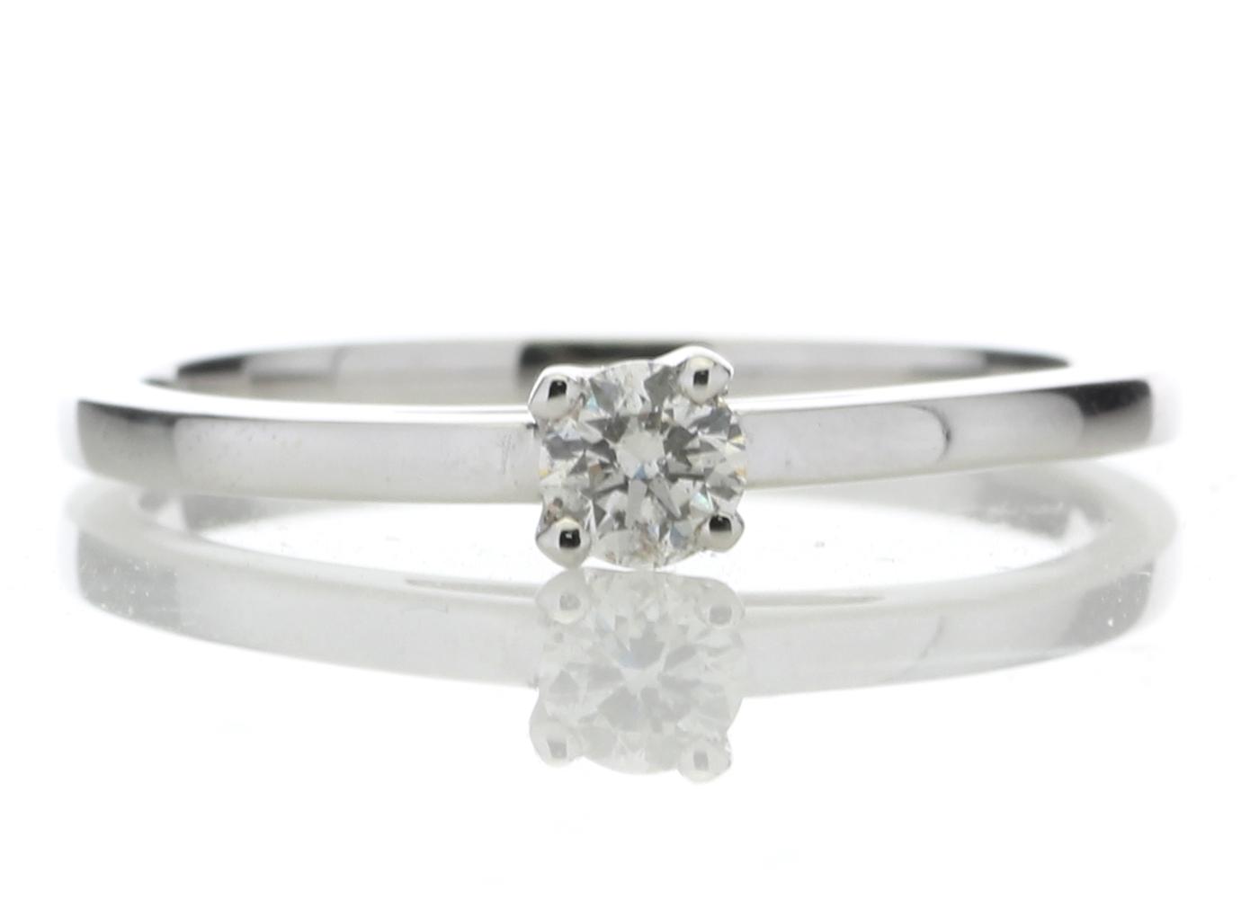 18ct White Gold Single Stone Wire Set Diamond Ring 0.20 Carats