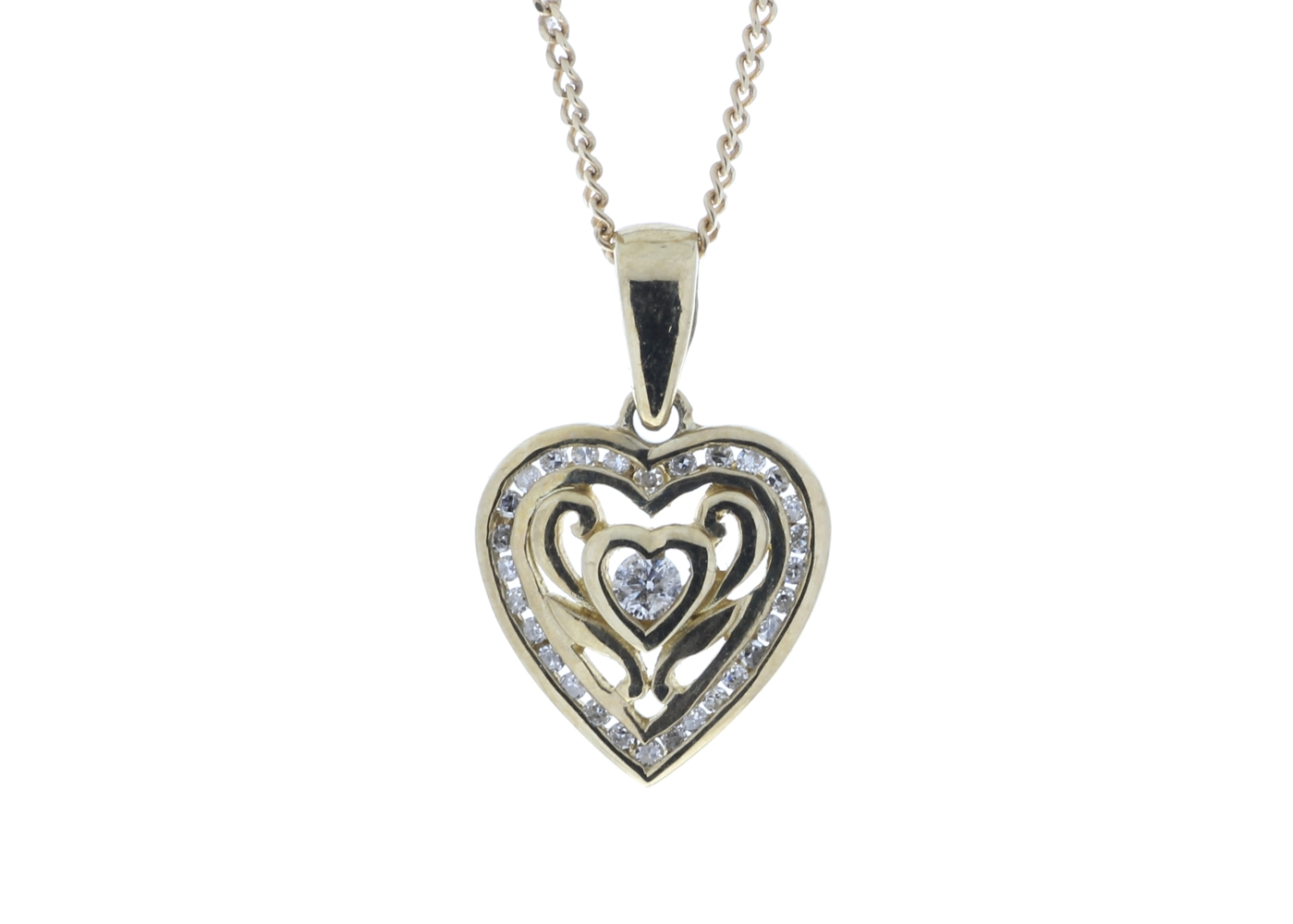 9ct Yellow Gold Heart Pendant Set With Diamonds With Centre Heart and Swirls 0.18 Carats