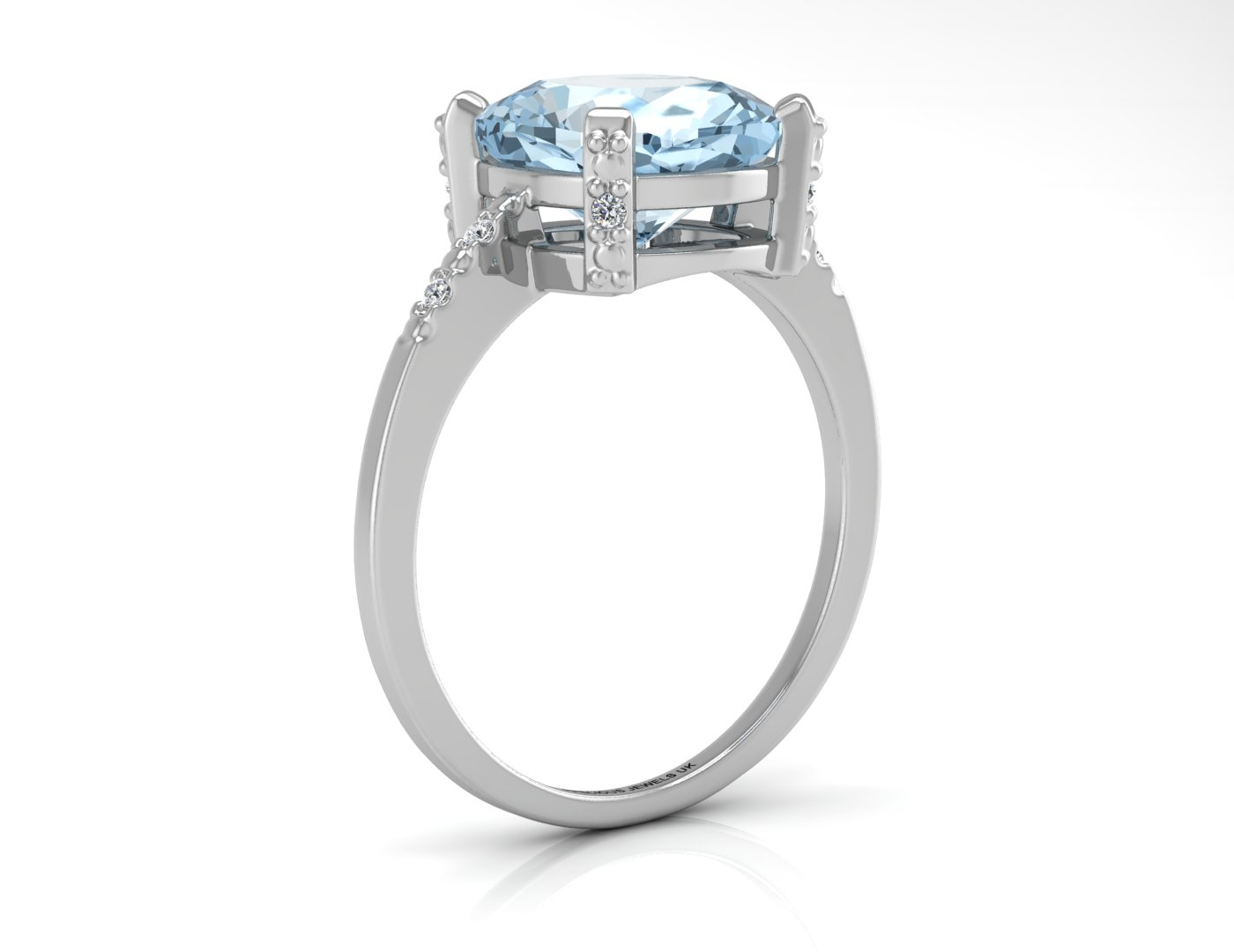 9ct White Gold Diamond And Blue Topaz Ring 0.04 Carats - Image 2 of 4