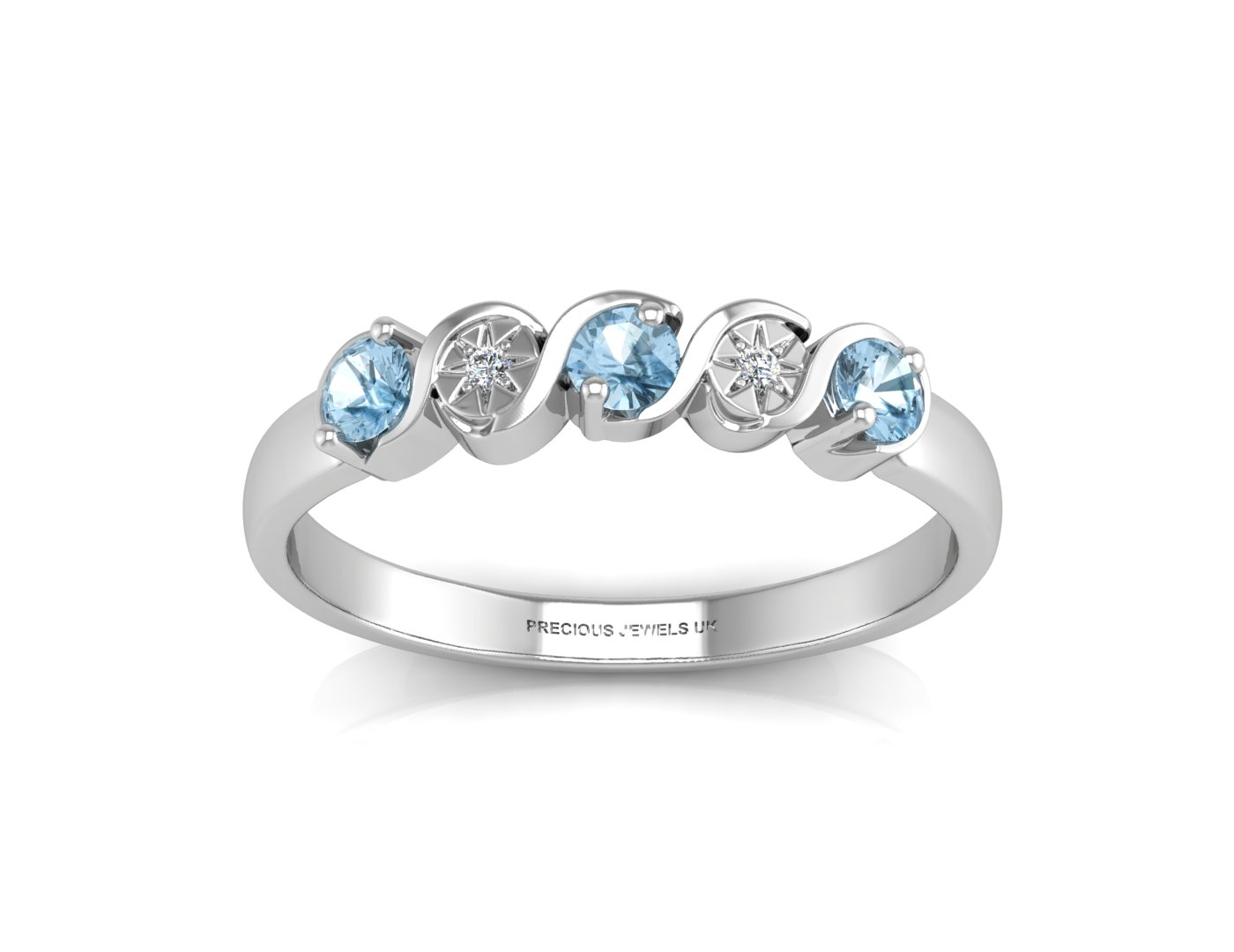 Lot 49 - 9ct White Gold Semi Eternity Diamond And Blue Topaz Ring 0.01 Carats