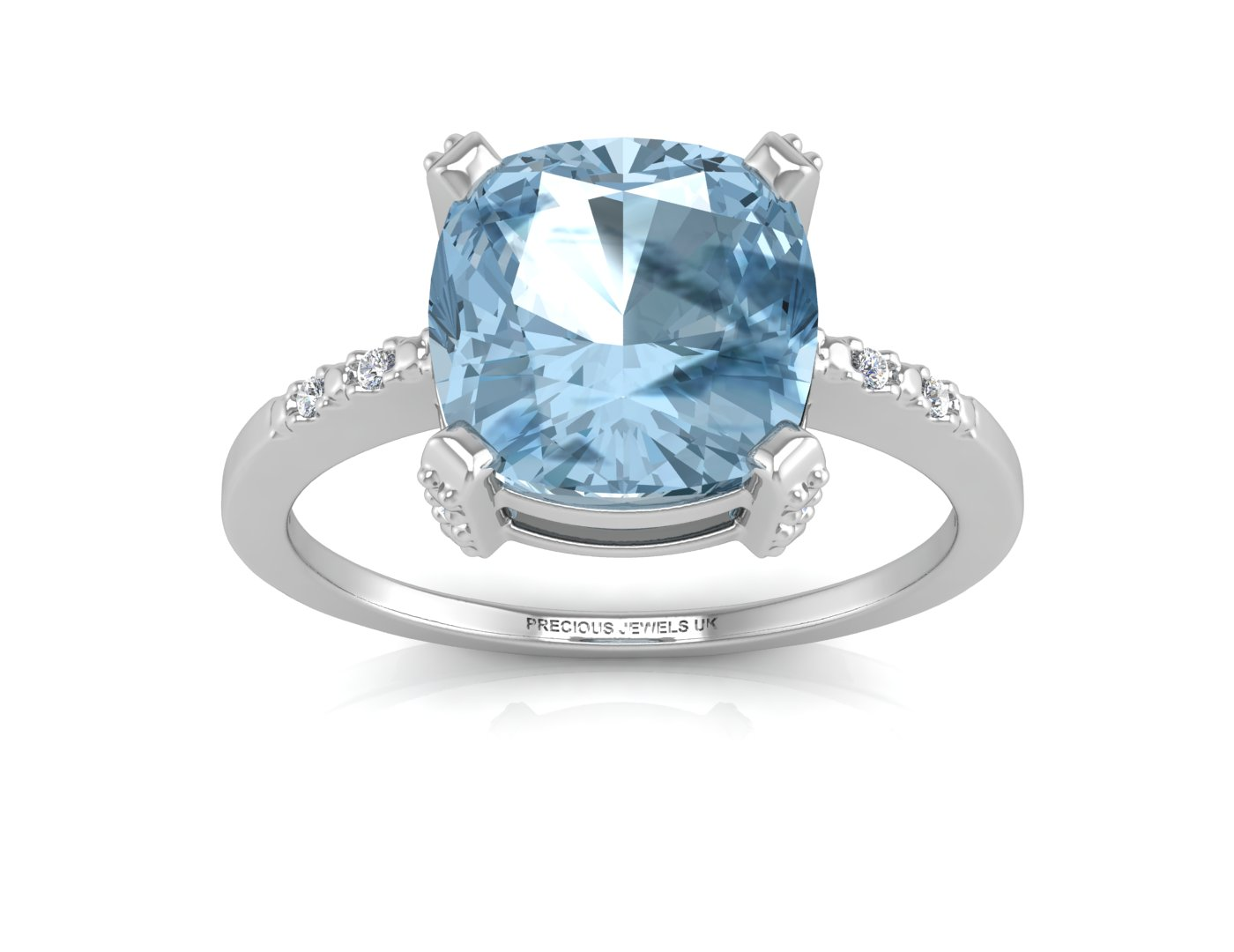 9ct White Gold Diamond And Blue Topaz Ring 0.04 Carats - Image 3 of 4