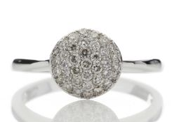 9ct White Gold Diamond Cluster Ring 0.51 Carats