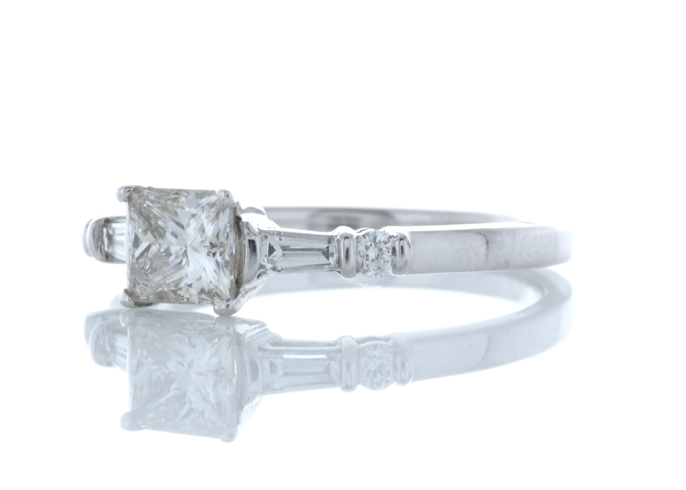 18ct White Gold Single Stone Princess Cut Diamond Ring With Set Shoulders (0.72) 0.96 Carats - Image 2 of 5