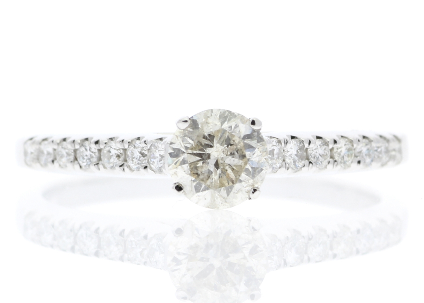 Lot 20 - 18ct White Gold Single Stone Claw Set With Stone Set Shoulders Diamond Ring (0.46) 0.61 Carats
