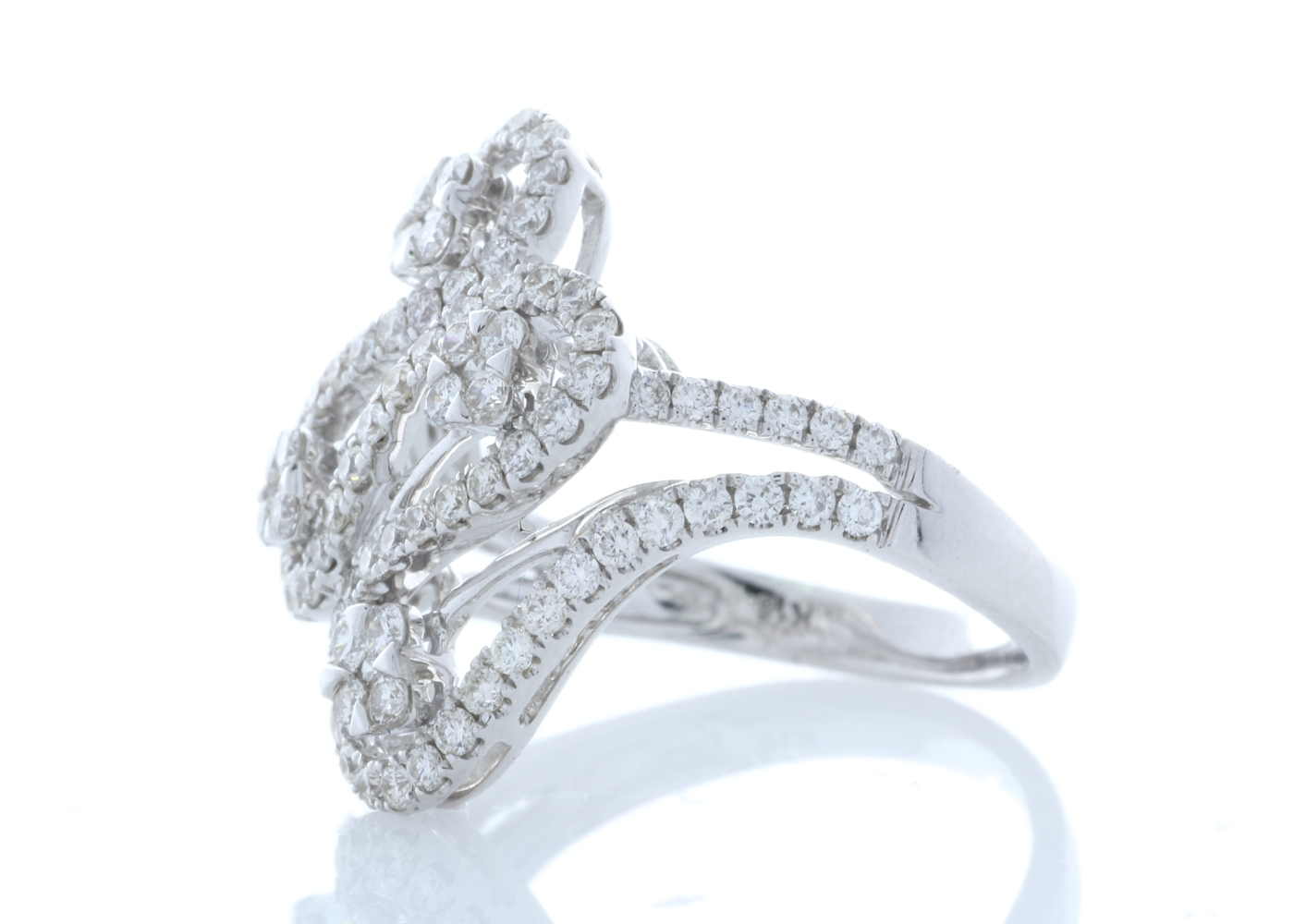 18ct White Gold Fancy Cluster Diamond Ring 1.15 Carats - Image 2 of 4