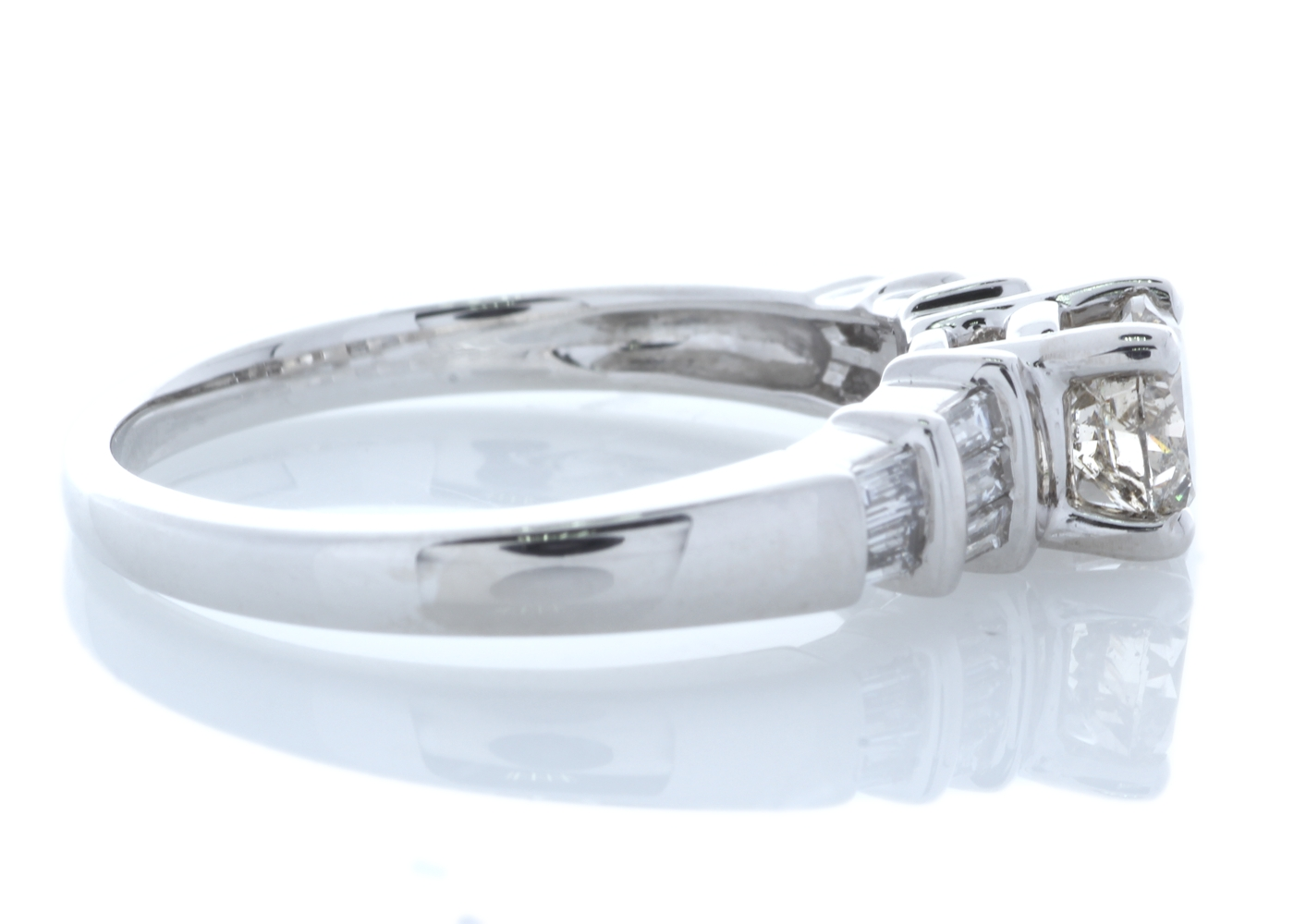 Lot 24 - 18ct White Gold Single Stone Prong Set With Stone Set Shoulders Diamond Ring 0.84 Carats