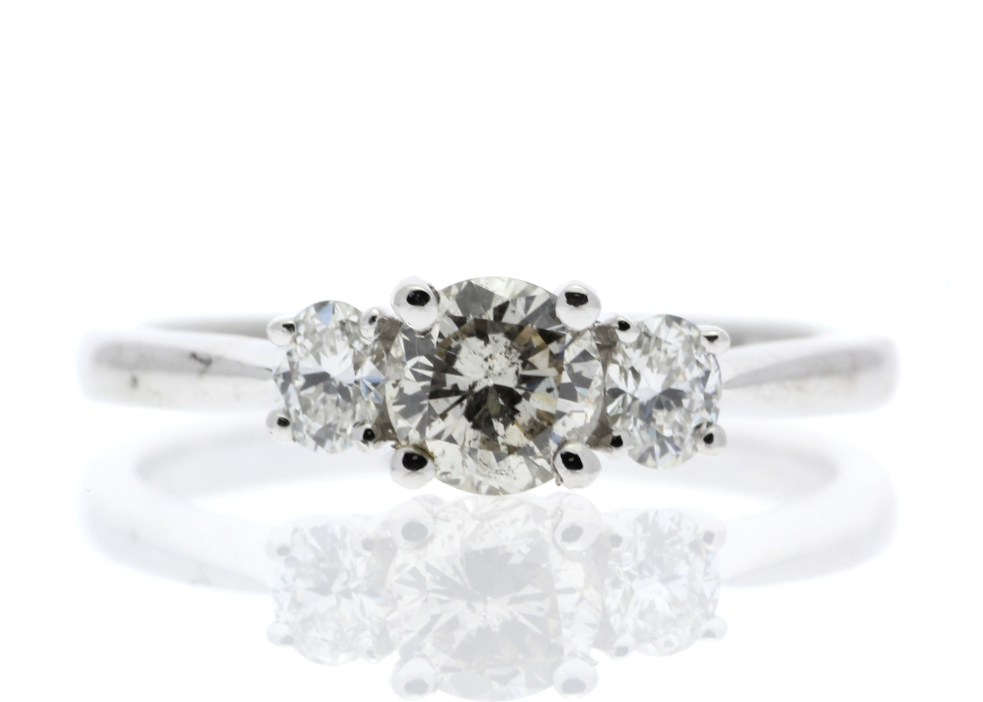 18ct White Gold Three Stone Claw Set Diamond Ring 0.73 Carats