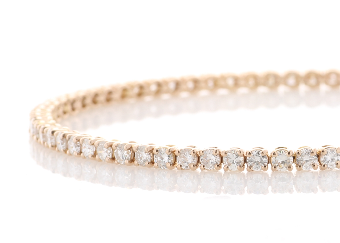 18ct Rose Gold Tennis Diamond Bracelet 4.00 Carats