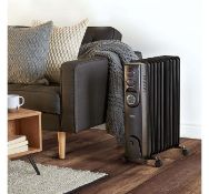 (HZ95) 11 Fin 2500W Oil Filled Radiator - Black 3 power settings (1000/1500/2500) and adjustab...