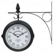 (LF35) Double Sided Paddington Station Outdoor Garden Wall Clock Add some style to your gard...
