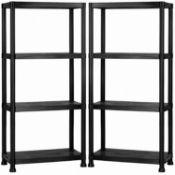 (LF190) 4 Tier Black Plastic Heavy Duty Shelving Racking Storage Unit The black plastic rack...