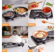 (TD61) Double Hot Plate Small, lightweight and easily portable, use the hot plate for cooking ...