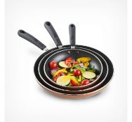 (MY12) Copper 3 Piece Aluminium Pan Set Made from quality 3.5mm aluminium for even heat distri...