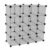 (LF68) Interlocking 16 Compartment Shoe Organiser Cube Rack White The interlocking shoe orga...