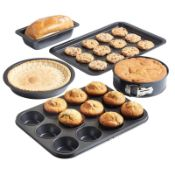 (MY98) Carbon Steel Cookware Bakeware Oven Tin Trays Set 5 Piece Non Stick