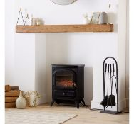 (AP173) 1850W Small Black Stove Heater Freestanding small stove heater with bronze effect hand...