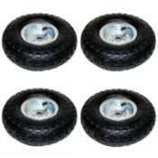 "(LF116) 4x 10"" Pneumatic Sack Truck Trolley Wheel Replacement Tyre Set Wheel Diameter: 10"" (25..."