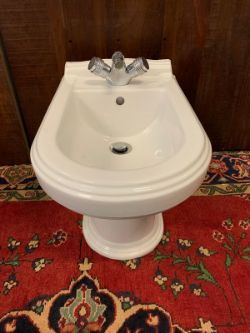 VILLEROY & BOCH BIDET BASIN WITH CHROME CYLINDER LUXURY FAUCET TAPS BY JEAN-CLAUDE DELEPINE