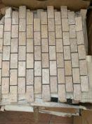 100 x Light Tumbled Travertine Mosaic 2.3x4.8cm