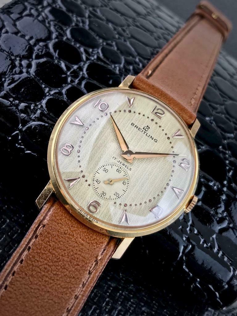 Lot 43 - Breitling Vintage 18k Gold Plated Men's watch from 1960's