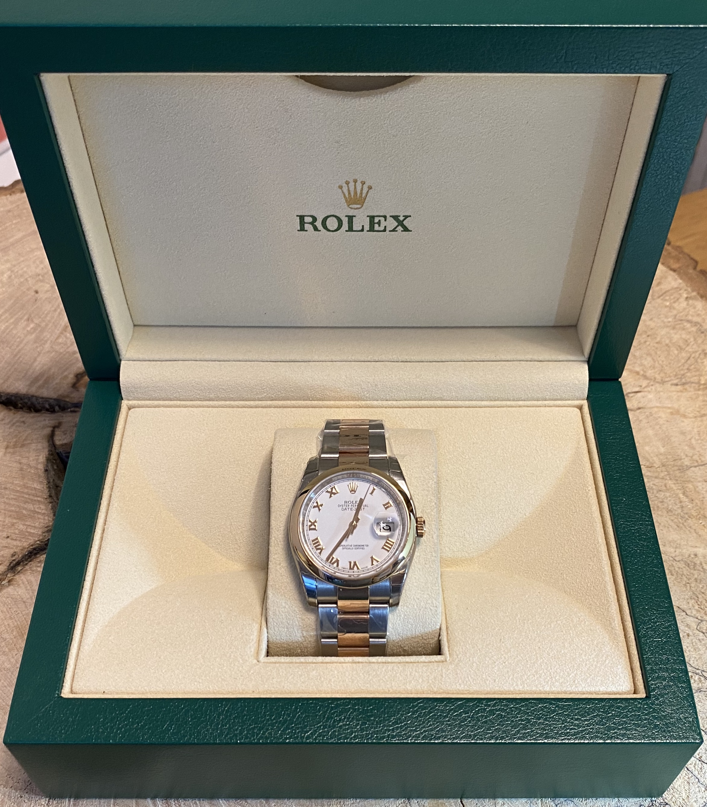 Lot 59 - Gents Rolex Datejust 116201 36mm Everose Gold & Stainless Steel *4 Years Gtee Remaining