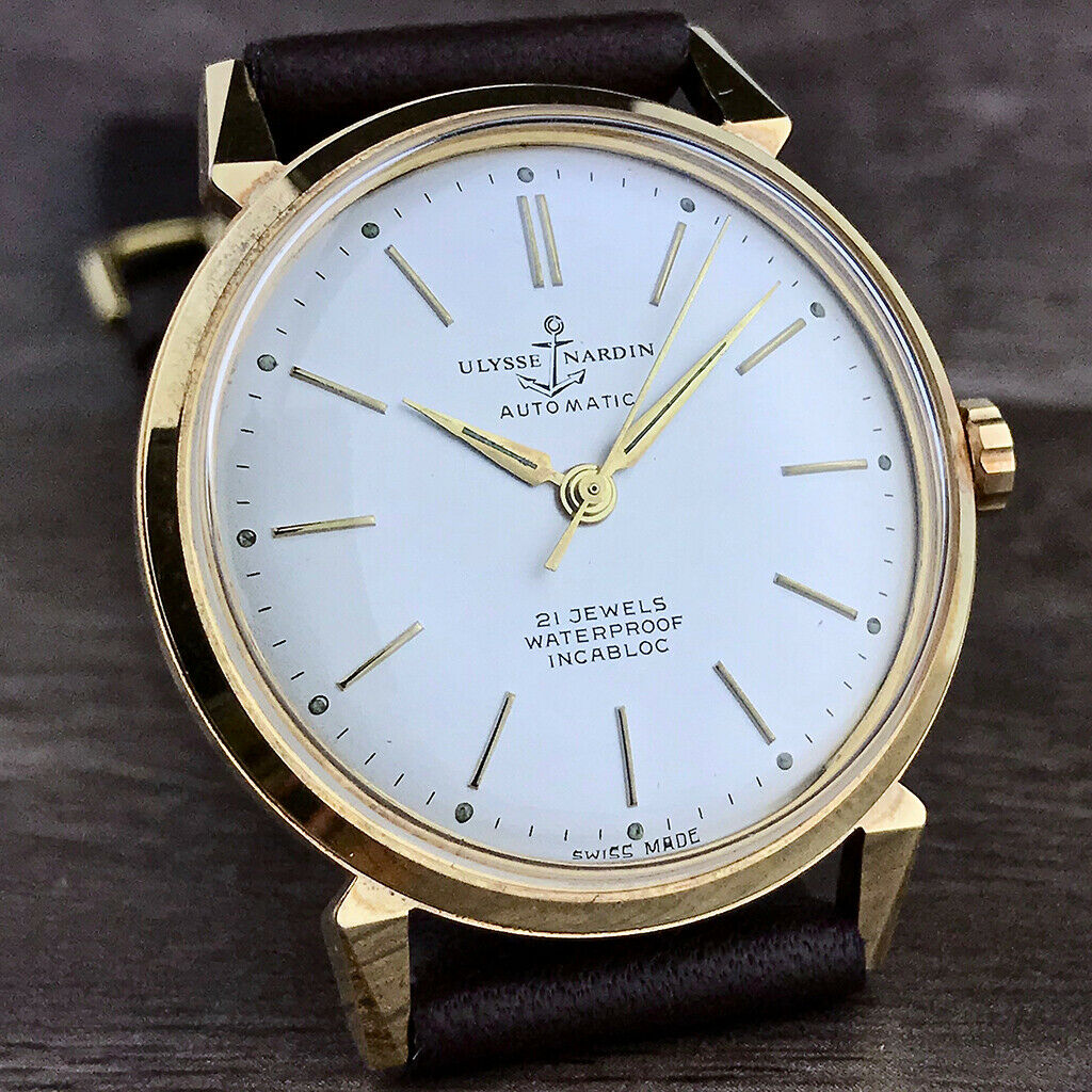 Lot 25 - Very Rare Ulysse Nardin Vintage 18k Gold Plated Automatic Mens Watch Circa.60's IMMACULATE