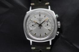Excellent Condition Vintage Classic Heuer Camaro Ref. 7743 Silver Dial Valjoux 7730
