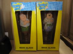 500pcs - Assorted over 2 x designs Family Guy Gift Glass - brand new and sealed - 500pcs in lot -