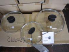 Original green pan lid set . 3 sizes, 20,26,28cm. 1 x pallet- 100 cartons /pallet new and sealed