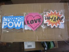501 assorted notepads wham , pow, love - design led novelty pads new and sealed with be an even mix