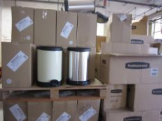 100 X Brand new and sealed Rubbermaid Pedal bin in Cream colour -some or all may have bubbling on so