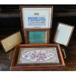 Antique Parcel of Frames and a Wooden Tiled Tray