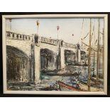 Vintage Art Framed Oil On Board River Scene Possibly Thames Signed Lower Right CWL